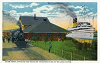 Sault Ste。Marie、ミシガン州 – ユニオンDepot by Shore , Trains and Ships 12 x 18 Art Print LANT-35980-12x18