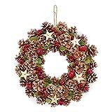 LOWYA (ロウヤ) クリスマスリース 壁掛け 玄関飾り 天然素材使用 松ぼっくり ラメ加工 星 木の実 34~35cm