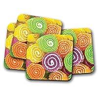 4セット - カラフルなお菓子コースター - スウィートサワーキャンディキッズ楽しいギフト#14388クール