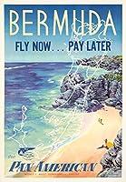 Pan American–バミューダヴィンテージポスター(アーティスト: Lesnon ) USA C。1950 9 x 12 Art Print LANT-73765-9x12