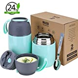 2 Pack Vacuum Insulated Food Jar Hot Food Containers for Lunch School Soup Thermos For Kids,Travel Food Flask Hot Cold (24oz,17oz) (Light green)