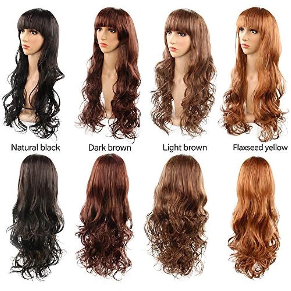 まあ使い込むなだめる前髪26インチの魅力的な人工毛交換ウィッグハロウィンコスプレ衣装アニメパーティーウィッグ(ウィッグキャップ付き) (Color : Dark brown)