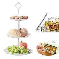 ケーキ菓子Platterプラスチック3Tier Fruits Candyパンケーキスタンドフルーツプレートスタンドと氷クリップのビュッフェスタンドのウェディングパーティーServing Platter