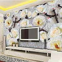 Lcsyp カスタム任意のサイズ3D立体レリーフ花不織布壁紙現代のリビングルームの寝室の背景壁画写真壁紙-350X245CM