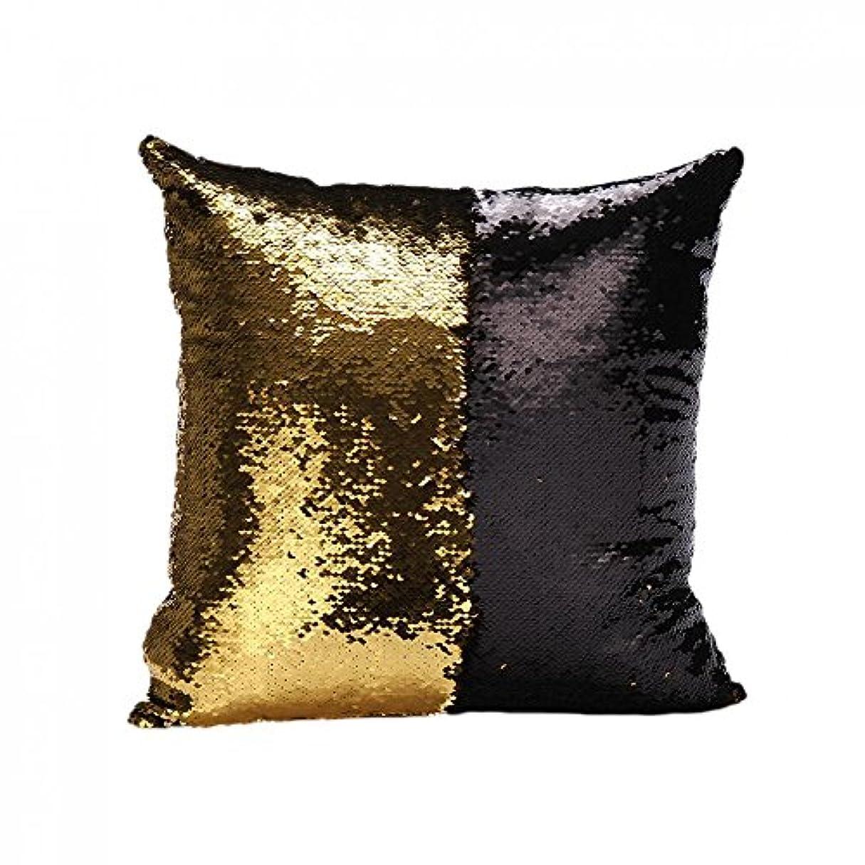 スキャン亜熱帯社交的B Blesiya 可逆スエードスパンコールソファ腰クッションカバーベッドの枕カバースリップ黒