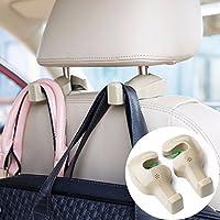カーシートヘッドレストフック2パック、ユニバーサル車バックシートヘッドレストハンガーホルダーオーガナイザーのハンドバッグ、財布、服、と食料雑貨バッグ ベージュ