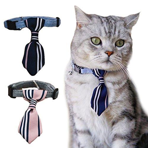 iikuru 猫 首輪 おしゃれ 猫用 首輪 鈴 ねこ 子猫 首輪 ペット 犬用 首輪 ペット用 犬 首輪 ネクタイ かわいい 青 ピンク x705