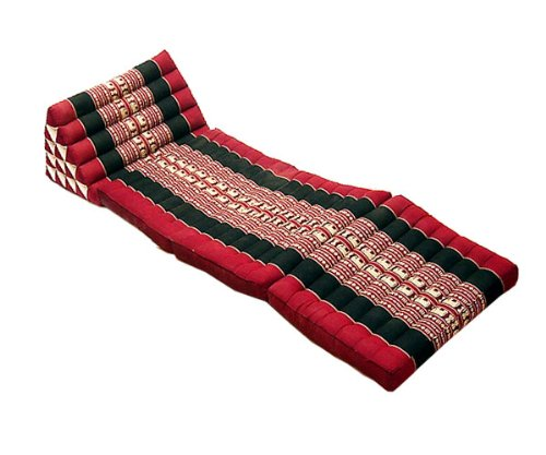 RoomClip商品情報 - タイのゾウさん刺繍 三角アジアンクッション(三角枕)特別仕様5段タイプ・マット3本付き 黒×赤