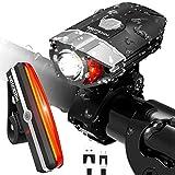 HODGSON 自転車ライトセット USB充電式 高輝度300LM ヘットライトとLEDテールライトセット 防滴 懐中電灯 簡単取り付け