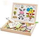 Xlp パズル スケッチブック イーゼルドローイングボードおもちゃ 磁気 マグネティック 子供キッズジグソーパズルベビーイーゼルデッサン会教育磁気パズルファームジャングルの動物木のおもちゃ