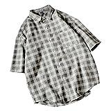 SemiAugust(セミオーガスト)メンズ アウター 半袖 チェック柄 シャツ ストリート ワイシャツ 五分袖 カジュアル コットン ゆったり おしゃれ ボタンダウン メンズファッション (グレー XL)