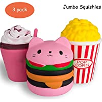 3pc Jumbo Squishies Set Hamburger Popcorn Coffee Cup Scented Slow Rising Squeeze Squishy Toy Stress Relief Decorations Toy Great Gift for Adults and Kids, Party Birthday Toys