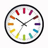 クロックス メンズ ブーツ ZLR ファッションミュート ミュートクロックベッドルームファッションクリエイティブレインボーウォールクロックモダンなリビングルーム時計 ( 色 : ブラック , サイズ さいず : 20*20cm )
