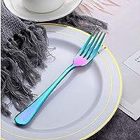 MEI 食器 2 PCSケーキフルーツフォークディナーサラダ食器ステンレス鋼フォーク キッチン用品 (色 : Colorful)