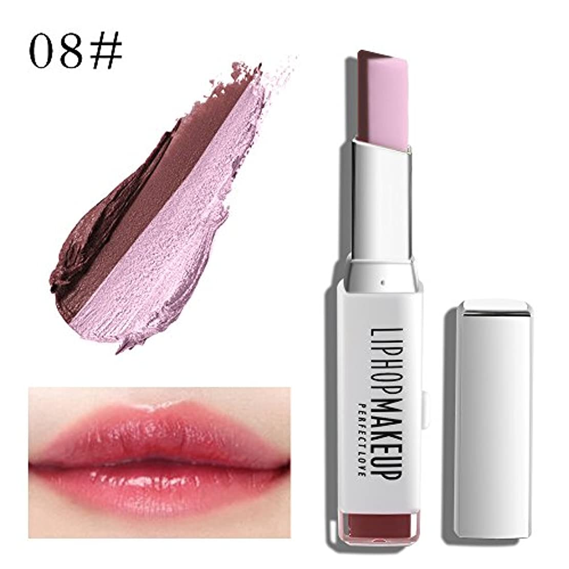 調整可能インタネットを見る代わりの1 PC Popular Waterproof Women Multicolor New Two Tone Lipstick #8
