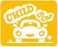 imoninn CHILD in car ステッカー 【マグネットタイプ】 No.25 クルマさん (黄色)