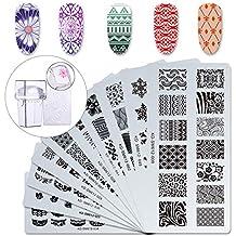 Makartt 12pcs Nail Art Stamp Stamping Templates Kit with 10pcs Manicure Plates 1 Stamper 1 Scraper for DIY & Salon Nail Art