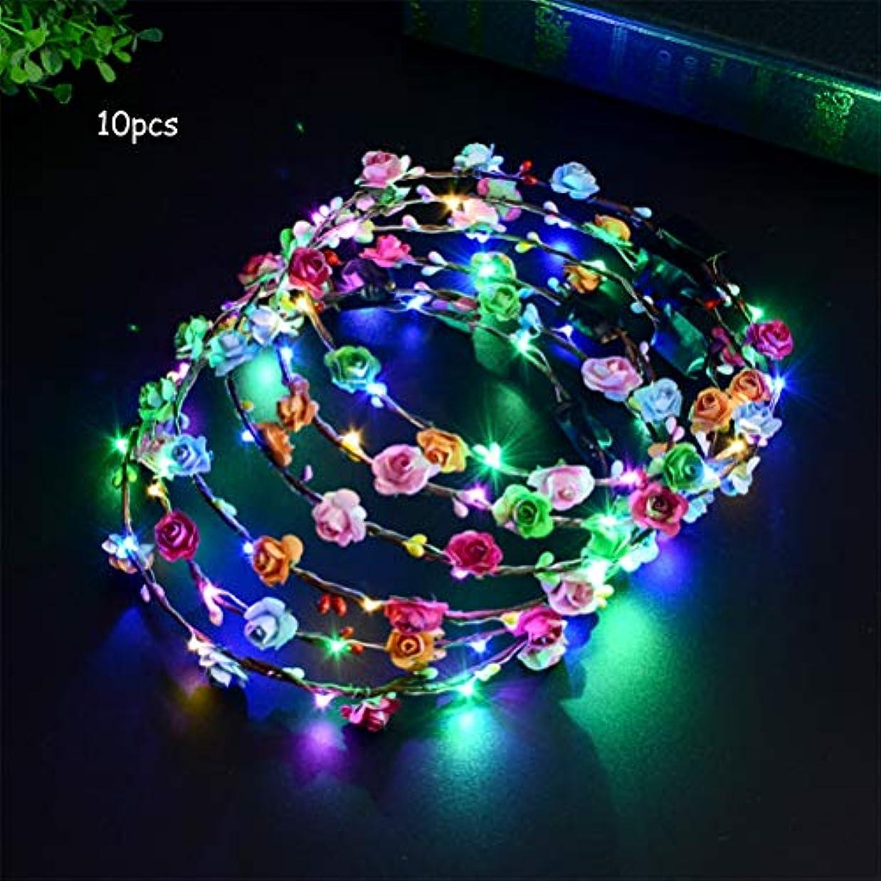 義務的クラッシュ浸す10個LEDフラワーヘッドバンドクラウンは暗闇で光ります