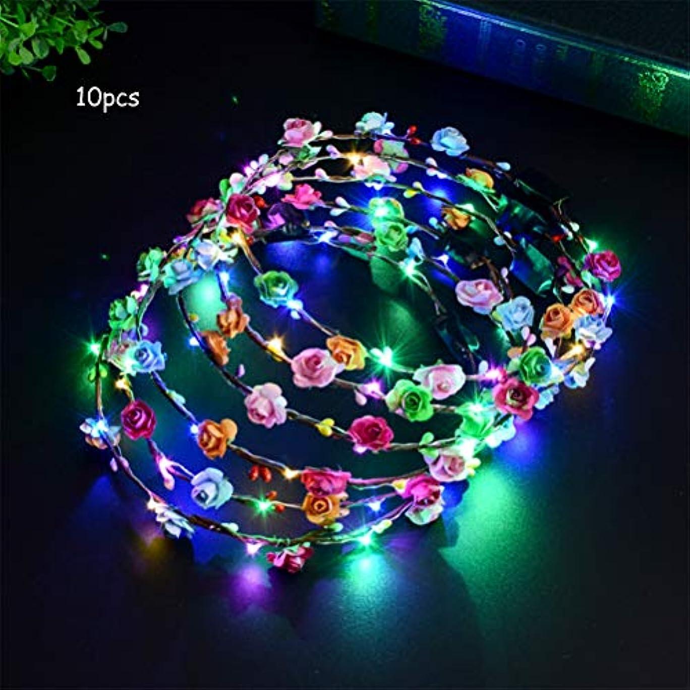貸すプログラム苦悩10個LEDフラワーヘッドバンドクラウンは暗闇で光ります