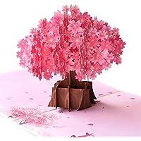Paper Spiritz ポップアップ記念日カード、Sakura、母の日、夫、妻、ボーイフレンド、ガールフレンドのための誕生日カード - カップルと桜の木