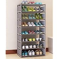 シューズラック 組立式8段 ブーツ収納 棚板調節 省スペース 本棚利用できる 多機能 グレイ(siero) (8段, グレー)