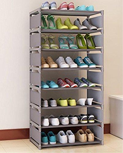 シューズラック 8段 組立式 ブーツ収納 棚板調節 省スペース 本棚利用できる 多機能
