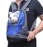 両手が使える 猫 小型犬用 キャリーバッグ おんぶ 抱っこ 兼用 2WAY (ブルー, Lサイズ)