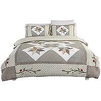 パッチワークキルト寝具バッグセット4pc、Washedコットンキルトシート花柄ベッドカバー枕カバーCoverlet King