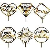 誕生日 ケーキトッパー ケーキデコレーション 用品 6枚 誕生日装飾 ケーキ挿入カード HAPPY BIRTHDAYの文字 LOVEの文字