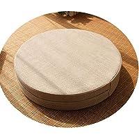 クッション丸い畳綿のリネンアート布団和式洗濯クッション瞑想ヨガマット,ベージュ,直径60cm厚6cm