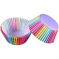 Refaxi 100PCSカップケーキライナーベーキングカップ金型紙マフィンケースケーキパーティーDIYツール(多色の周り)