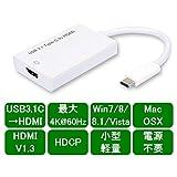 PCのUSB3.1Cから最大4K@60ハイビジョン映音をHDMIに引出す。音声対応【USB3C-HDMI4K】