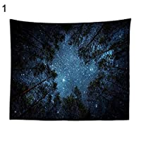 夜星空森の木タオル毛布壁ホームルームぶら下げタペストリーの装飾 - 1#S