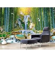 Weaeo カスタム写真3Dの壁紙リビングルーム竹の森の滝とウォーターパーク3Dの壁の壁画壁紙の3D-350X250Cm