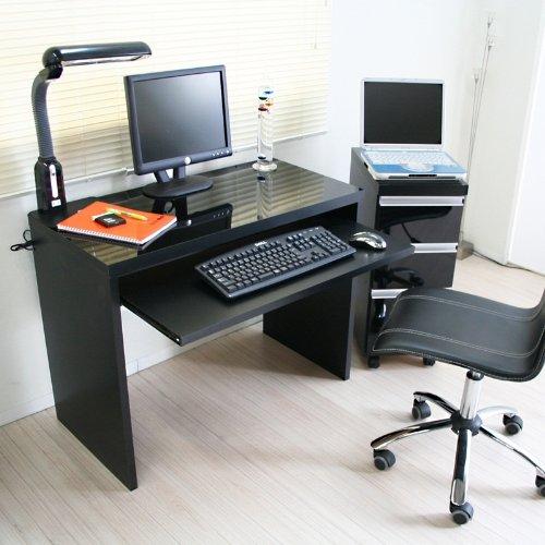 パソコンデスク 書斎机 鏡面 90cm幅 2点セット ブラック JS106BK 学習机 学習デスク
