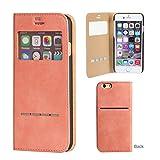 iPhone6s iPhone6 ケース 手帳型 窓付き カバー カード収納 ウィンドウ フリップ / ピンク
