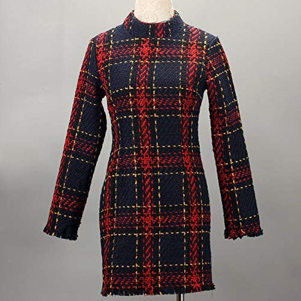 重くする引き算安価なOnderroa - ファッション冬のドレスの女性は、ストライプ長袖スリムスキニーセクシーなミニボディコンヴィンテージvestidosドレスの女性を印刷PLAID