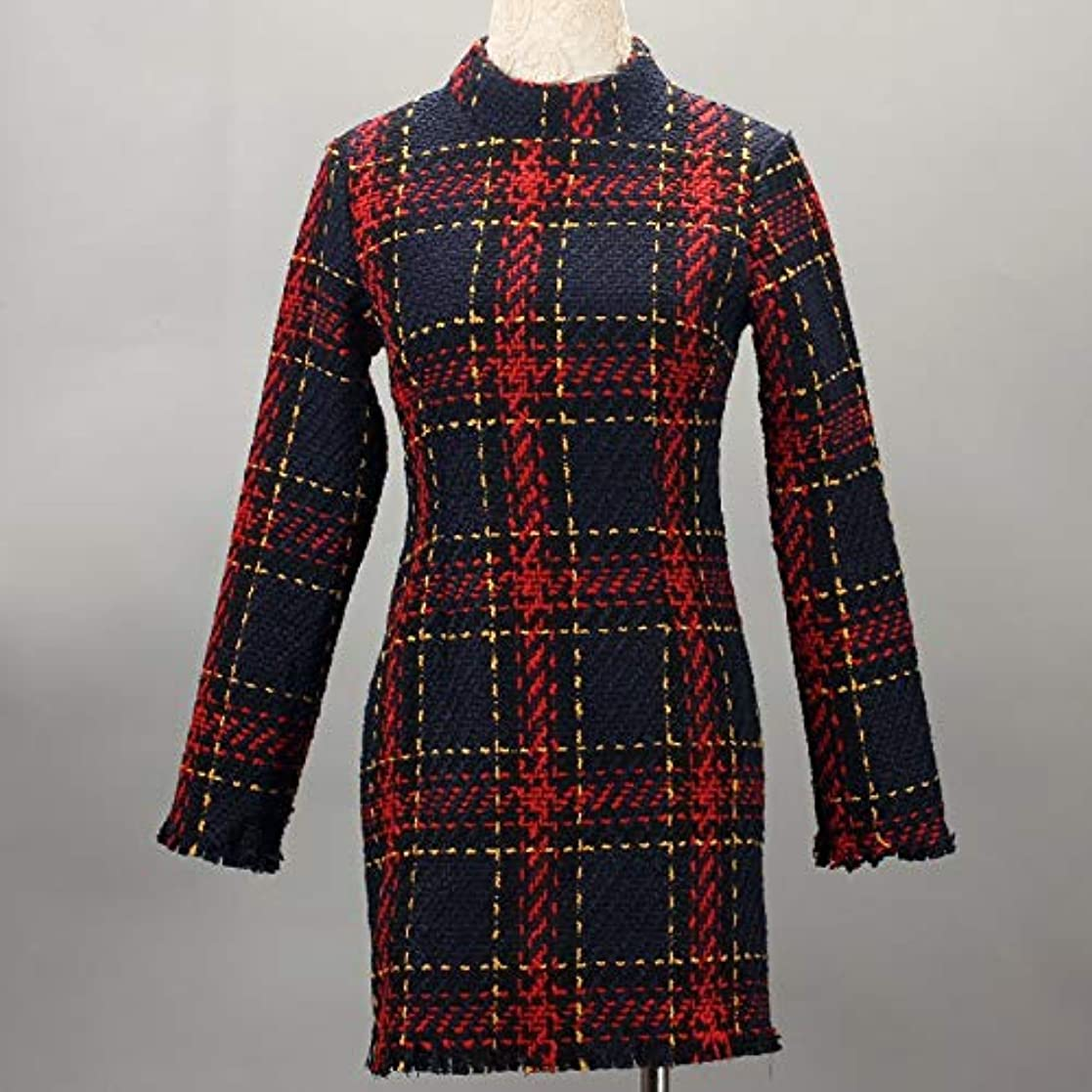 拡張期待する成分Onderroa - ファッション冬のドレスの女性は、ストライプ長袖スリムスキニーセクシーなミニボディコンヴィンテージvestidosドレスの女性を印刷PLAID
