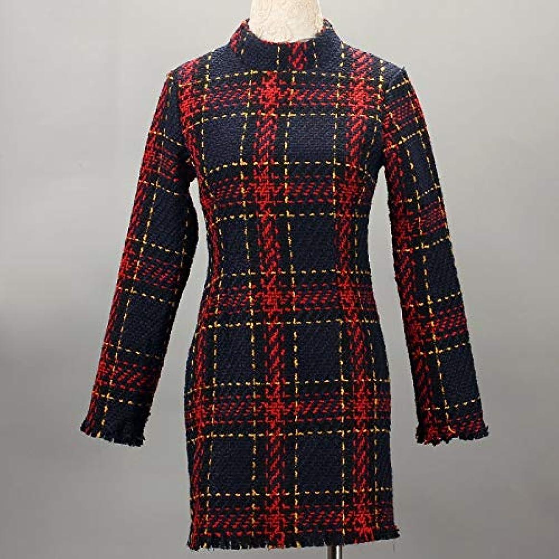 Onderroa - ファッション冬のドレスの女性は、ストライプ長袖スリムスキニーセクシーなミニボディコンヴィンテージvestidosドレスの女性を印刷PLAID