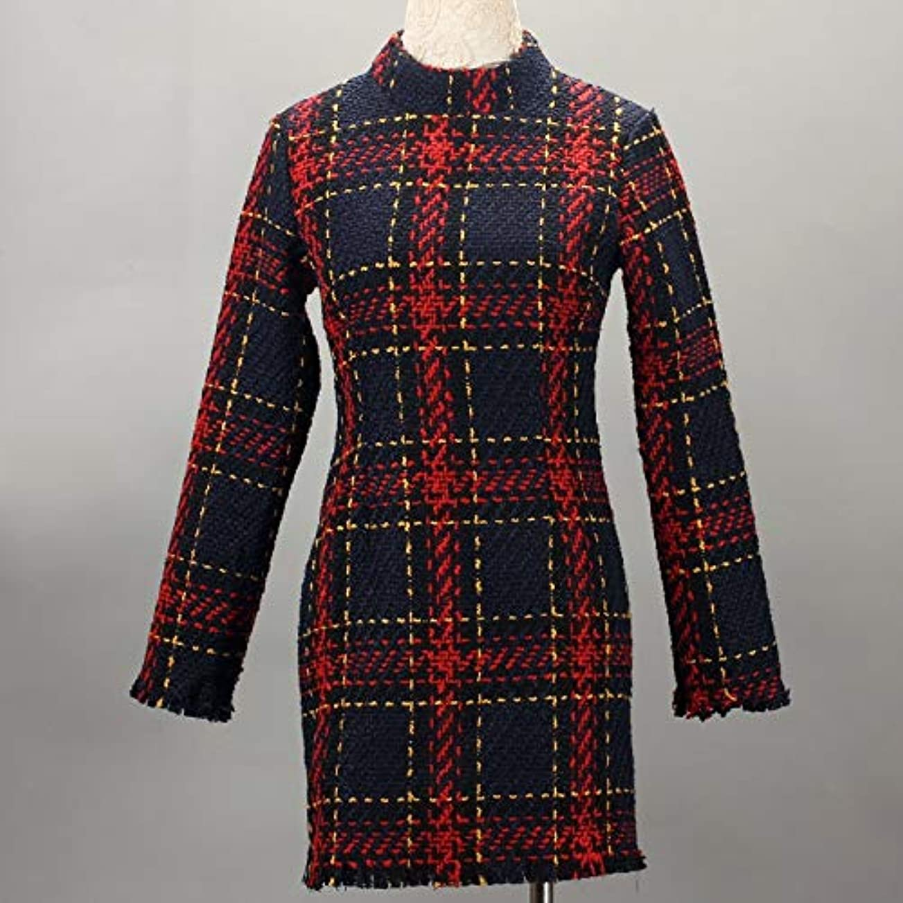 黒考えカプラーOnderroa - ファッション冬のドレスの女性は、ストライプ長袖スリムスキニーセクシーなミニボディコンヴィンテージvestidosドレスの女性を印刷PLAID
