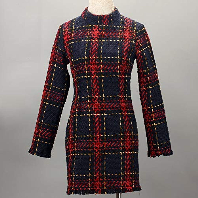 混乱クライマックス不愉快にOnderroa - ファッション冬のドレスの女性は、ストライプ長袖スリムスキニーセクシーなミニボディコンヴィンテージvestidosドレスの女性を印刷PLAID