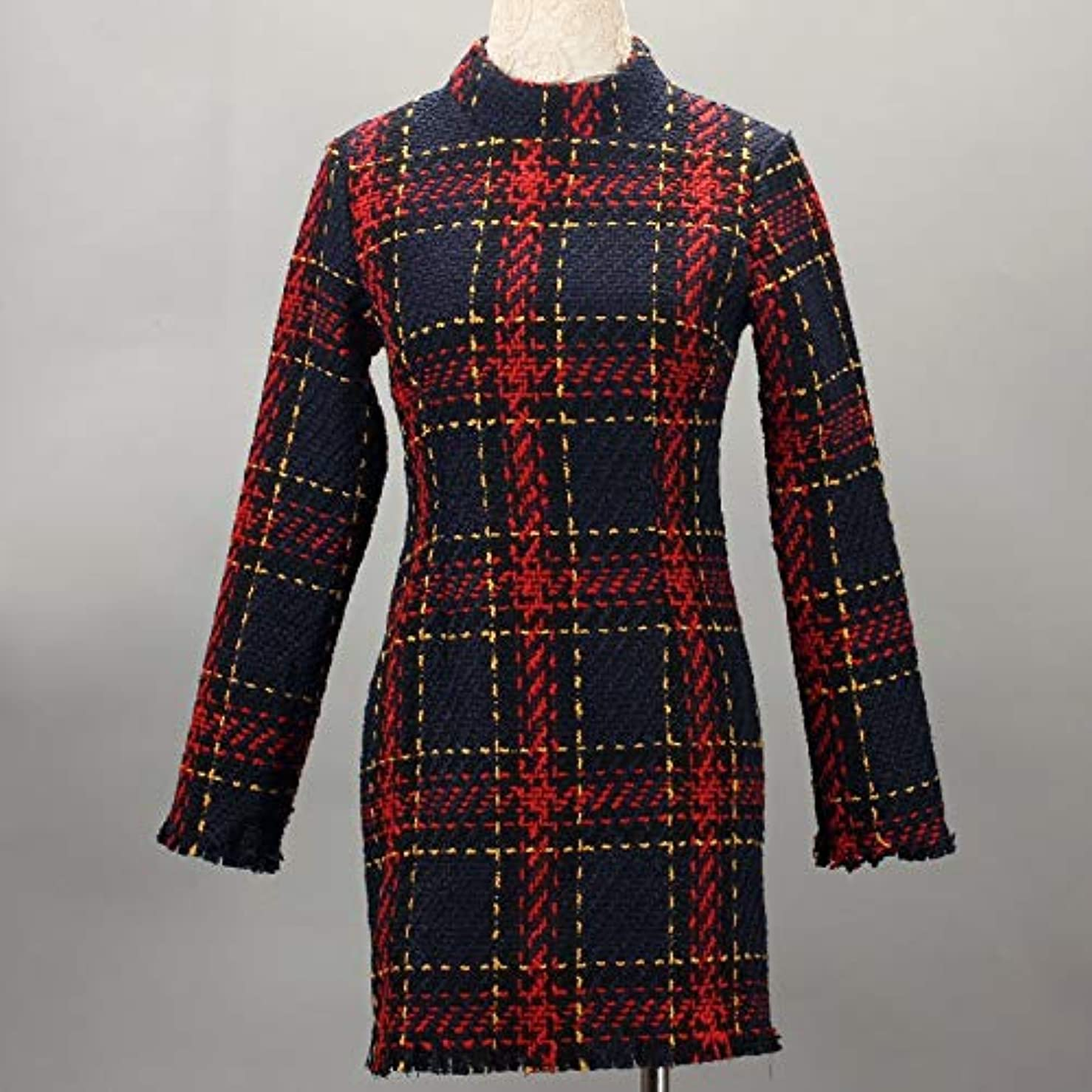 かみそりレモン第二Onderroa - ファッション冬のドレスの女性は、ストライプ長袖スリムスキニーセクシーなミニボディコンヴィンテージvestidosドレスの女性を印刷PLAID