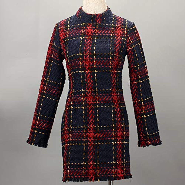 スペア精神健全Onderroa - ファッション冬のドレスの女性は、ストライプ長袖スリムスキニーセクシーなミニボディコンヴィンテージvestidosドレスの女性を印刷PLAID
