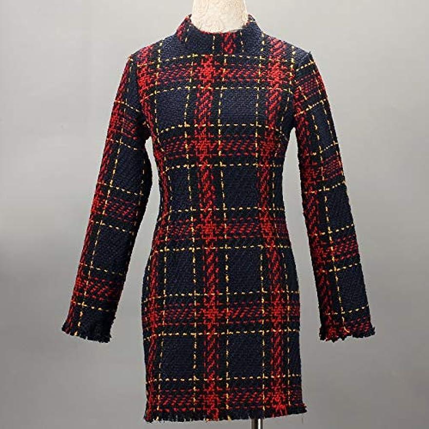 リボンペグキャビンOnderroa - ファッション冬のドレスの女性は、ストライプ長袖スリムスキニーセクシーなミニボディコンヴィンテージvestidosドレスの女性を印刷PLAID