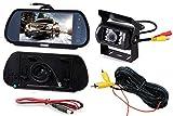 JX-SHOPPU 7インチ ルームミラー型モニター+ バックカメラ12V/24V兼用 バックカメラセット トラック、バス、重機等にも対応