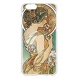iPhone6/6s 4.7インチ ケース カバー 西洋名画 アルフォンス・ミュシャ 桜草/ホワイト