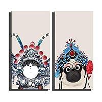 E-HOME飾り猫と犬 の装飾絵画家の装飾上のキャンバス現代壁アートキャンバスプリントポスターキ インテリア (30 * 60cm*2pcs 完成品(木枠を含む))