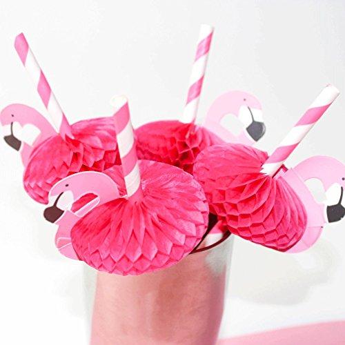 RoomClip商品情報 - SSORA ペーパーストロー ストライプ ピンク フラミンゴ 20本 パーティー イベント お祭り デコレーション