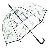 Smartbulle フランスのブランド 透明傘 長傘 ジャンプ傘 おしゃれ ドーム型 高強度グラスファイバー採用 梅雨対策 バブルアンブレラ 女用の傘 頑丈な 8本骨 (パリ)