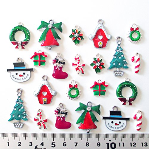usausaのお店 福袋 サンタ・ツリー・ブーツ クリスマスのチャーム オーナメント ペアセット22個入り(約17mmから34mm)